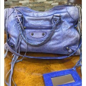 Blue Balenciaga city bag